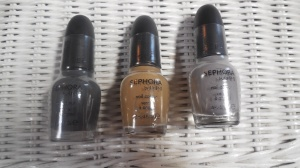 From left to right Break a Leg-Warmer!, Neutral Beauty, Frankly, I Don't Give A-dam
