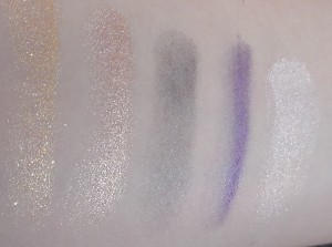 Row 4, l to r, Triton, Wanderin' Free, Jetsam, Sea Witch, Treasures Untold - Like I said, the pigment just keeps getting better, very shimmery but beautiful shades