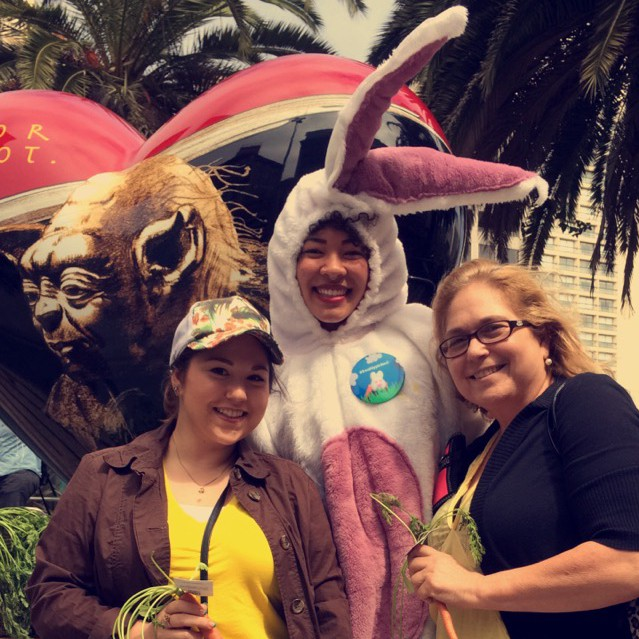 My mom & I with the Lush Cosmetics Bunny  wearing Yellow For Seth during the LUSH Freshly Picked Scavenger Hunt!